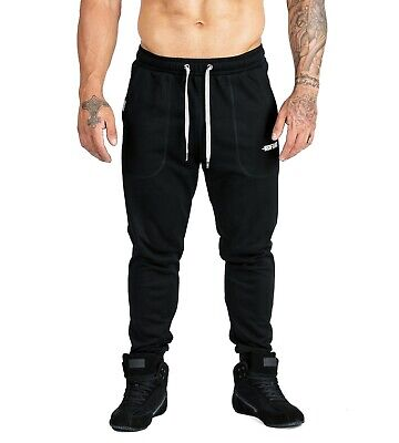 Mens Pro Gym Tracksuit Pants Running Bodybuilding Trackies Pant S197 Black