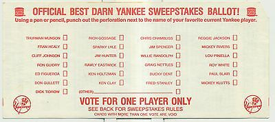 "1978 Burger King ""Best Darn Yankee"" Sweepstakes Ballot!"