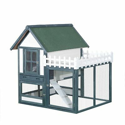 "PawHut 52"" Deluxe Wooden Rabbit Hutch Pet House Habitat W/ Run Area & Fence"