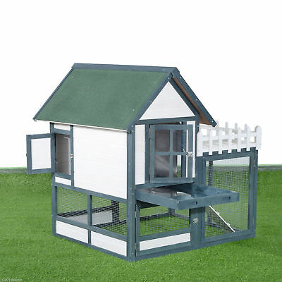 "PawHut 52"" Wooden Rabbit Hutch Pet House Backyard Habitat Cage w/ Run Fence"