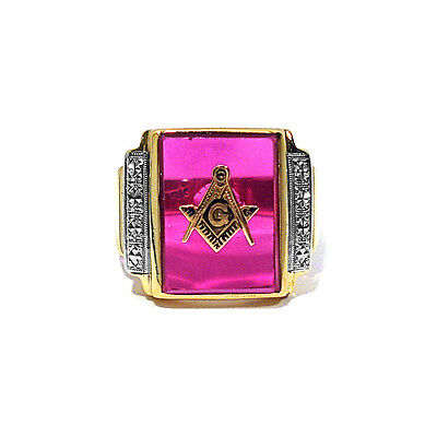 SOLID 10K YELLOW Gold Synthetic Ruby Masonic Ring ~ Size 9 1/2