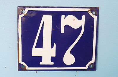 Antique French Steel Blue White Enamel Painted House Gate Number Sign Plaque 47