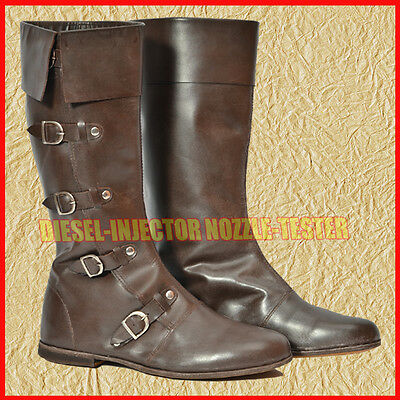 Medieval Leather Boots Re-enactment Mens Shoe Larp Role Play Costume Size 10 v1