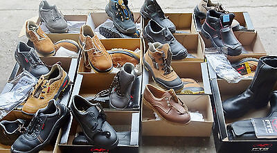 Joblot Pallet Safety Work Boots, Trainers, Shoes x 220 - Leather
