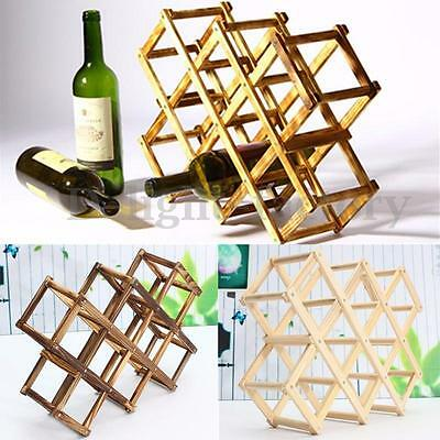 Foldable Wooden 10 Wine Bottles Holder Rack Stand Storage Shelf Cabinet Mount