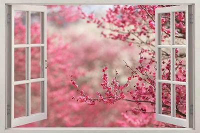 Cherry Blossom 3D Window View Decal WALL STICKER Home Decor Art Mural Trees