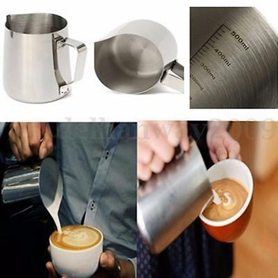 350/600/900ml Stainless Coffee Milk Tea Frothing Jug Pitcher Latte Art w/ Mark