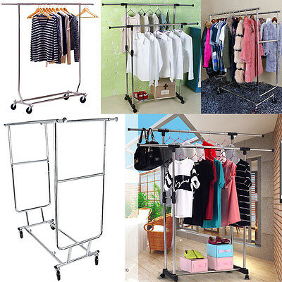 3 Styles Portable Stainless Steel Double Clothes Garment Dryer Rack Rail Hanger