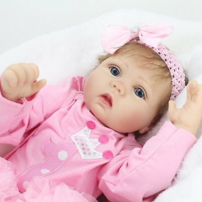 """22"""" Newborn Vinyl Silicone Reborn Baby Girl Doll Accompany Gifts Collectible Toy"""