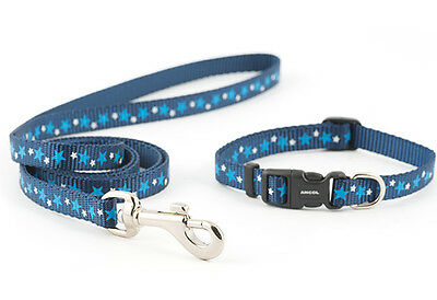 Ancol Small Bite stars puppy collar & lead set red or blue