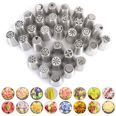 32x Icing Piping Nozzles Petal/Drop Flower/Leaf Icing Nozzle Tip Set Sugarcraft