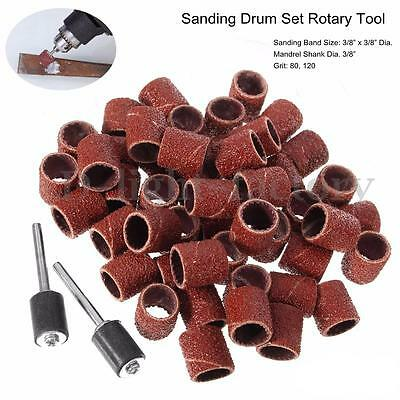 """104x 3/8"""" Sanding Sleeves Bands Sets with 4 Mandrels Drum For Dremel Rotary Tool"""