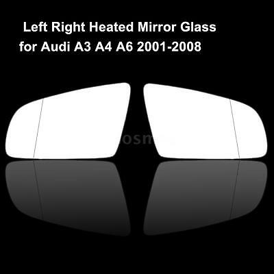 Replacement R & L Drive Side Heated Door Mirror Glass for Audi A3 A4 A6 H8W4