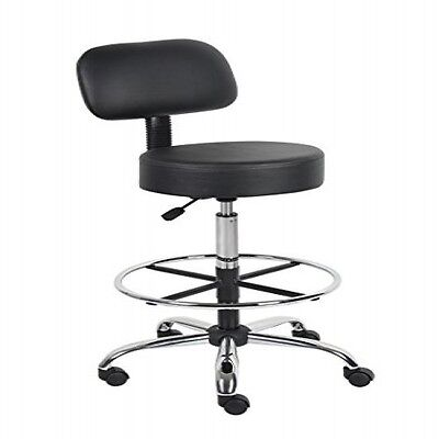 Medical Drafting Stool Adjustable Seat Foot & Back Rest Rolling Lab Office Chair
