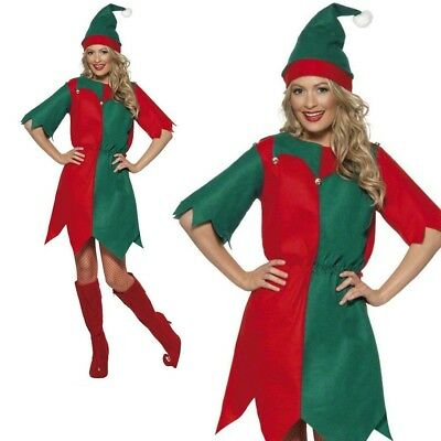 Adult Elf Costume Ladies Christmas Fancy Dress Womens Xmas Outfit S-XL