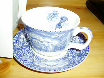 """nib, Spode Blue Room Collection Floral Blue, Tea Cup And Saucer Set"""