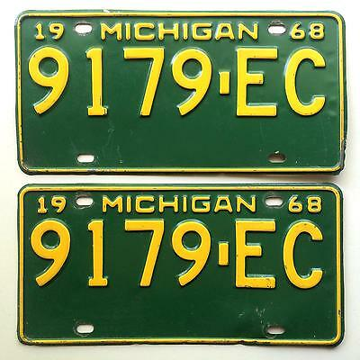 Michigan 1968 Pair License Plate Garage Old Car Tag Vtg Auto Great Lakes 1960s