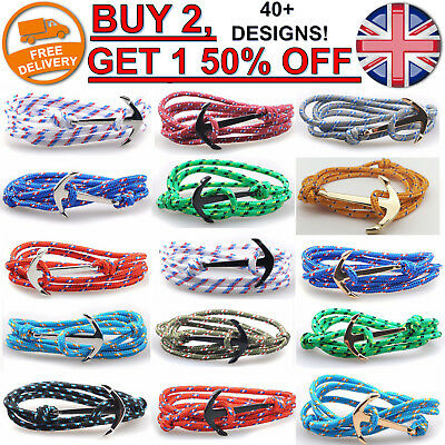 Anchor Hook Rope Bracelet Nautical String Adjustable Leather Men Silver Gold NEW