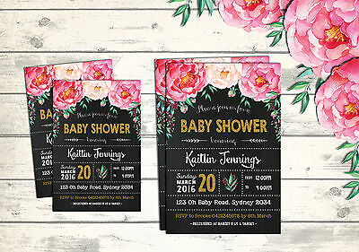 BABY SHOWER Invitations Flower Invites Floral Shabby Chic Pink Gold Chalkboard