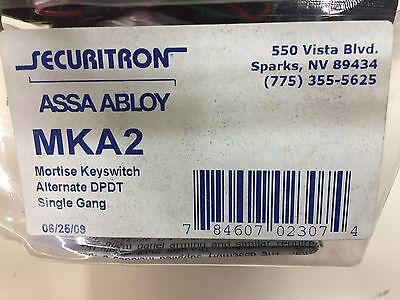 Securitron MKA2 Single-Gang Alternate DPDT Mortise Keyswitch - NEW
