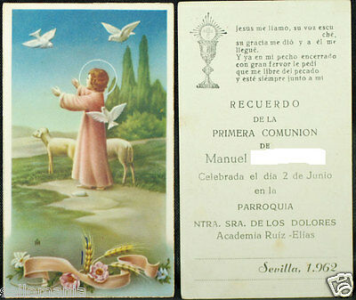 Old First Communion Remembrance Holy Card Year 1962 Andachtsbild Santini  Cc1036