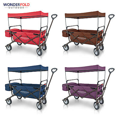 WonderFold Portable Collapsible Folding Wagon with Canopy Stand Optional Seat