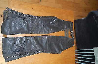 1970's Motorcycle Black Leather Chaps Flare Full Zip  Small Long Medium Tall