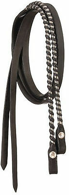 Royal King Dark Oil Leather Silver Laced Split Reins Horse Tack 18-632