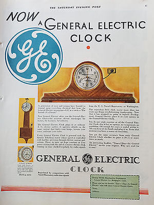 1930 GE General Electric Mantel Wall Clock Color Ad