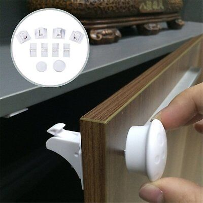 4/8pcs Magnetic Baby Child Kids Proof Cupboard Cabinet Drawer Safety Lock Latch