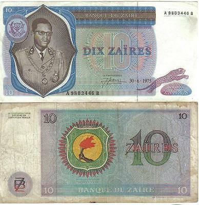ZAIRE: VINTAGE CIRCULATED 1970s NOTE PAIR, 5 and 10 ZAIRES.  PICK #s 21 & 23