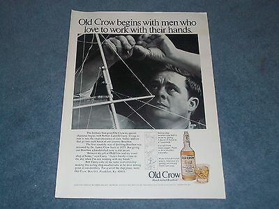 "1971 Old Crow Bourbon Whiskey Vintage Ad ""...Begins with Men who Love to Work..."