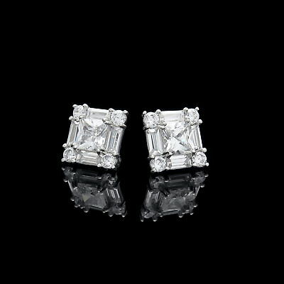 1CT Princess Baguette Round Created Diamond Cluster Stud Earrings 14K White Gold