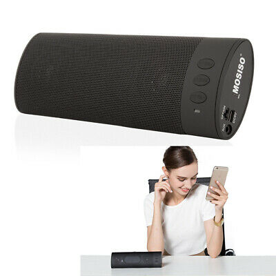 Battery Portable Wireless Black Bluetooth Stereo Speaker with High-Def Sound