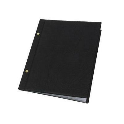 Classic Menu Cover with Brass Interscrews, Black A4 10 Pockets, Restaurant NEW
