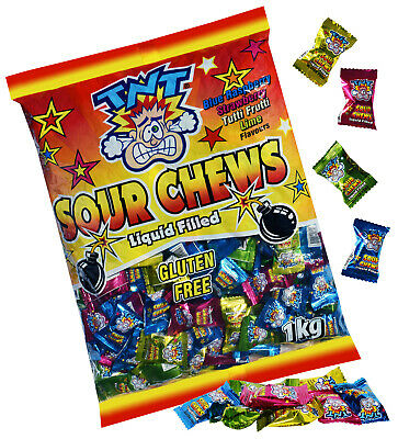 TNT SOUR CHEWS - 2 x 1KG (Approx 400 individually wrapped pieces) Party Favours