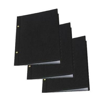 10x Classic Menu Cover with Brass Interscrews Black A4 10 Pockets Restaurant NEW