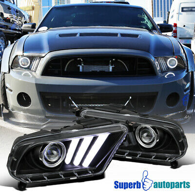 2010-2014 Black Mustang Projector Headlights Hi-Tech Look SEQUENTIAL LED DRL