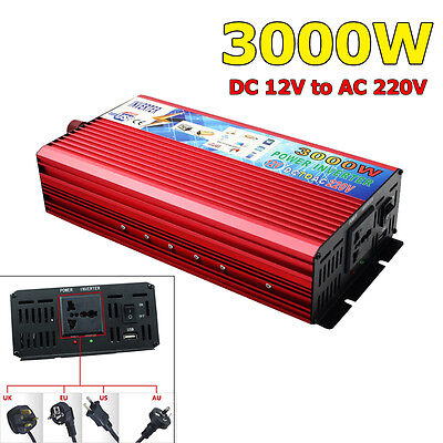 3000W Modified Vague Inverter Power Onduleur DC 12V to AC 220V Pour Électronique