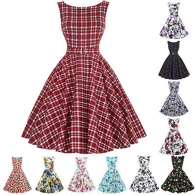 Womens Vintage Dress 40s 50s Swing Party Pinup Retro Prom Party Housewife Gowns