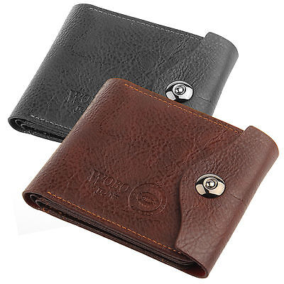 New Brown/Black Mens Luxury Soft Leather Wallet Credit Card Holder Purse UK
