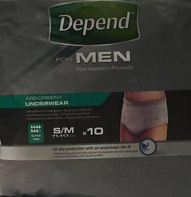 THREE PACKS of Depend For Men Absorbent Underwear Super S/M 10 Pants