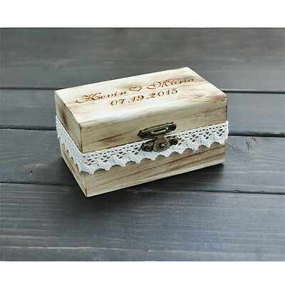 Wedding Ring Bearer Box Custom Your Names and Date Personalized Wood Ring Box