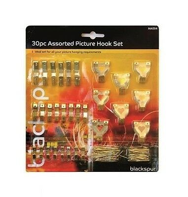 30 Pc Assorted Pictures  Frames Mirrors Hanging Wall Hooks Set