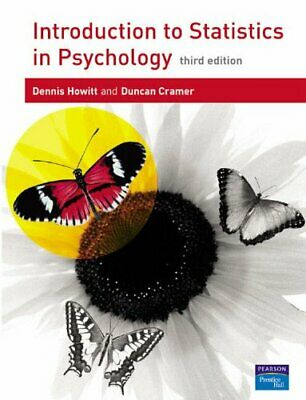 Introduction to Statistics in Psychology by Cramer, Prof Duncan Paperback Book