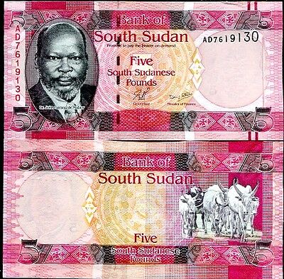 South Sudan 5 Pounds Nd 2011 P 6 Unc