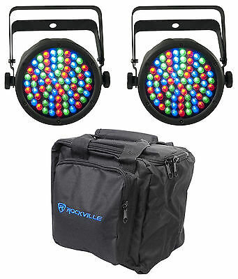 "(2) Chauvet DJ SLIMPAR 38 3/7 Channel 2.5"" Thick Par Can Stage Lights+Carry Case"