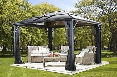 10x14 Meridien Polycarbonate Hard Top gazebo with mosquito netting US