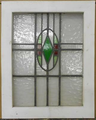 "MID SIZED OLD ENGLISH LEADED STAINED GLASS WINDOW Symetric Geometric 21"" x 26"""
