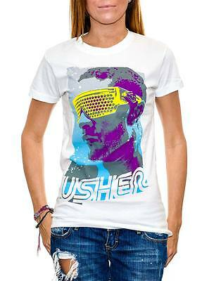New: USHER - Shades (Womens) White Concert T-SHIRT